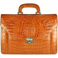 Genuine alligator leather briefcase AL046-S Tan