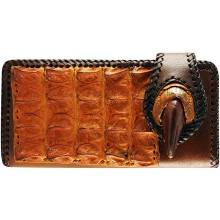 Genuine alligator, ostrich claw and cow leather wallet AL099OS Brown / Tan