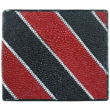 Genuine stingray leather wallet AMW001-04BR Black / Red