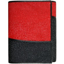 Genuine stingray leather wallet AMW006 Black / Red