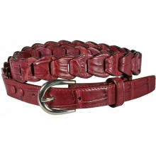 Genuine crocodile leather belt B04204 Maroon