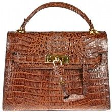 Genuine alligator leather bag BCM203 Brown