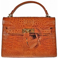 Genuine alligator leather bag BCM203 Tan