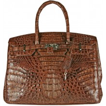 Genuine alligator leather bag BCM253 Brown