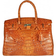 Genuine alligator leather bag BCM253 Tan