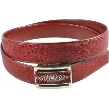 Genuine stingray leather belt 102RPB Burgundy