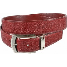 Genuine stingray leather belt 102RR Burgundy
