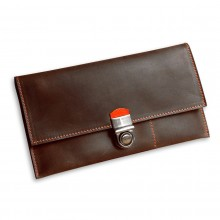 Premium cow leather handmade travel case EL-TK-2-1 Brown / Orange