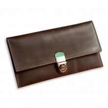 Premium cow leather handmade travel case EL-TK-2-1 Brown / Light Green
