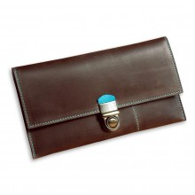Premium cow leather handmade travel case EL-TK-2-1 Brown / Light Blue