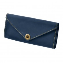 Premium cow leather handmade wallet EL-W-1 Midnight Blue / Yellow