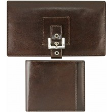 Genuine Cow Leather Breast Pocket and Bifold Wallets Set CSET03 Brown