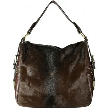 Genuine cow with hair on leather bag CHA001 Brown