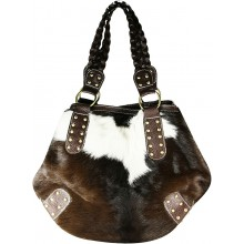 Genuine cow with hair on leather bag CHA004 Black / Brown / White