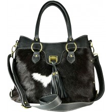 Genuine cow with hair on leather bag CHA005 Black / Brown / White