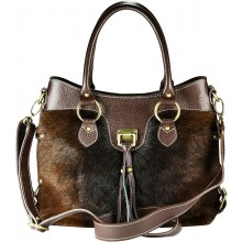 Genuine cow with hair on leather bag CHA005 Brown