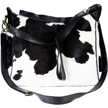 Genuine cow leather with hair on bag CHA051 Black / Brown / White