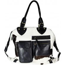 Genuine cow leather with hair on bag CHA052 Black / Brown / White