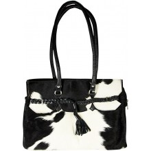 Genuine cow with hair on leather bag CHA621 Black / White