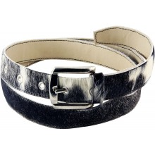 Genuine cow with hair on leather belt CHABELT01 Black / White