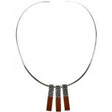 Silver necklace & three coconut pendants CN109E
