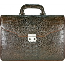 Genuine crocodile leather briefcase CRBRT1527-S Brown