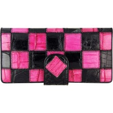 Genuine crocodile leather wallet CRLW03 Black / Pink