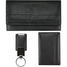 Cow leather clutch wallet, card holder, key chain set CSET01L Black