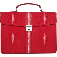 Genuine stingray leather briefcase DC08-1 Fire Red