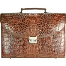 Genuine alligator leather briefcase DCM39-S Brown