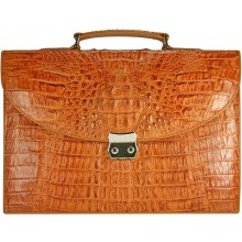 Genuine alligator leather briefcase DCM39-S Tan