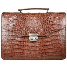 Genuine alligator leather briefcase DM1527-S Brown