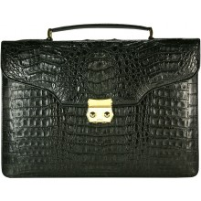 Genuine alligator leather briefcase DM1527-G Black