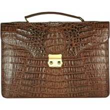 Genuine alligator leather briefcase DM1527-G Brown