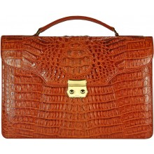 Genuine alligator leather briefcase DM1527-G Tan