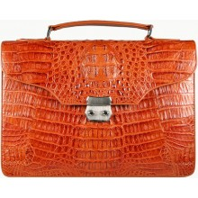 Genuine alligator leather briefcase DM1527-S Tan