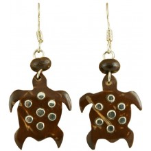 Coconut shell with sterling silver inlay earrings E931