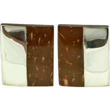 Coconut shell with sterling silver inlay earrings E956