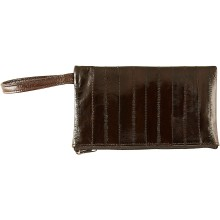 Genuine eel leather jewelry pouch EELJP002L Brown