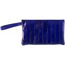 Genuine eel leather jewelry pouch EELJP002L Midnight Blue
