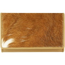 Genuine goat leather with hair on wallet GHW63 Camel
