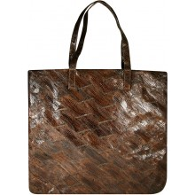 Genuine chicken / hen leather bag HBAG8828 Brown