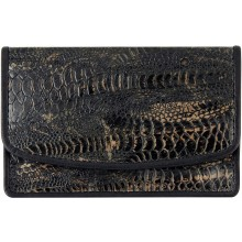 Genuine chicken / hen leather card holder HCC208 Antique Black