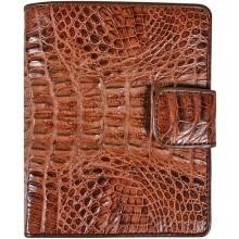 Genuine alligator leather wallet HKCM7-T23 Brown