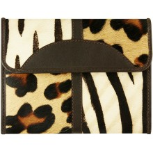 Genuine cow with hair on wallet HL108 Brown Tiger / Zebra