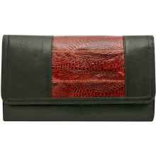 Genuine chicken / hen leather wallet HWAL010 Black / Brown