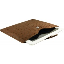Genuine ostrich leather iPad 2 / iPad 3 sleeve IPAD2-3-SL01OS Brown