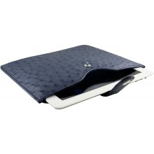 Genuine ostrich leather iPad 2 / iPad 3 sleeve IPAD2-3-SL01OS Midnight Blue