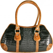Genuine alligator and sea snake leather bag ISALB998 Black / Tan