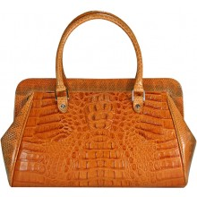 Genuine alligator and sea snake leather bag ISALB999-01 Tan